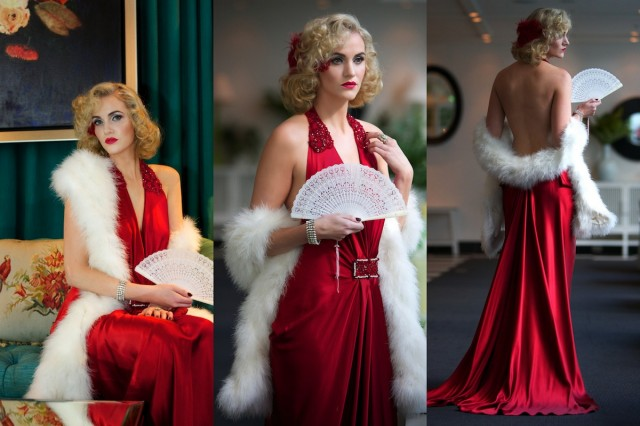 Model : Amelia wears a 1930's inspired silk gown by local French Designer Luke Diaz.